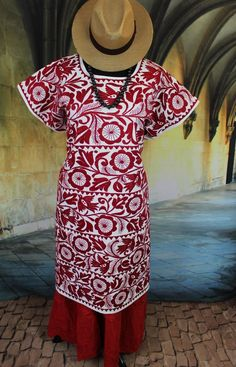 Detailed Red & Cream Hand Embroidered Huipil Dress, Jalapa Mexico Santa Fe Style #Handmade #HuipilMexicanDress