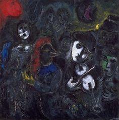 Les saltimbanques dans la nuit, par Marc Chagall