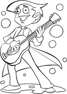 A Boy Playing Guitar Coloring Page