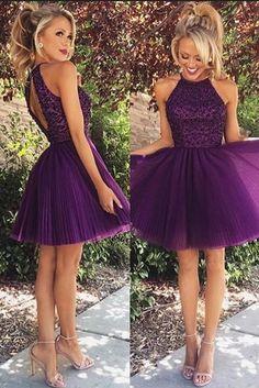 High Neck Homecoming Dresses, Purple Homecoming Dresse, Beaded Short Homecoming Dress,Short Prom Dresses,Short Prom Dresses