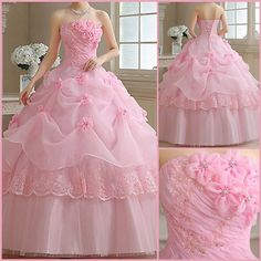 Strapless sweet quinceanera dress