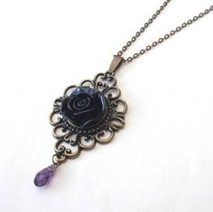Victorian Black Rose Filigree Necklace with Amethyst Glass Drop