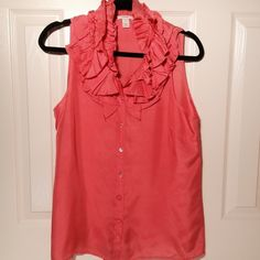 J. Crew Silk Ruffle Tank Shell Top Gorgeous!!  PERFECT condition. Worn once. Vibrant tangerine color. Much prettier in person than the picture depicts. Beautiful!!  Size 10. 100% silk. No trades. J. Crew Tops Tank Tops