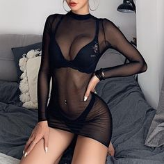 Mode Outfits, Sexy Outfits, Sexy Dresses, Short Dresses, Casual Outfits, Fashion Outfits, Dress Long, Girls Dresses, Sheer Bodycon Dress