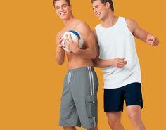 Karl Herzer and Lee Pappas for Mervyn's (2006) #LeePappas #malemodel #model #StarsModels #StarsModelMgmt  #KarlHerzer #Mervyns #smile #volleyball #muscles