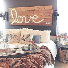 Farmhouse+Bedroom+Wooden+Love+Sign