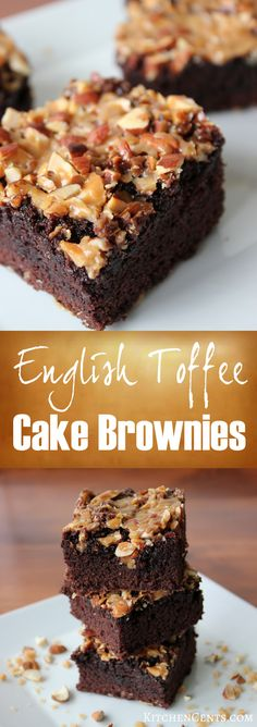 English toffee cake brownies are so delicious with their sweet toffee crunch, nutty almond flare and a divine cake-y chocolate brownie base. Chocolate Smoothie Recipes, Easy Smoothie Recipes, Best Dessert Recipes, Brownie Recipes, Cupcake Recipes, Sweet Recipes, Delicious Desserts, Delicious Chocolate, Brownie Cake