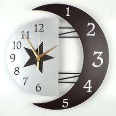 Wooden Decorative Wall Clock, Moon and Sun Accurate Time Design,black (Roman) at Wish Shopping Made Fun Wall Clock Sticker, 3d Wall Clock, Hanging Clock, Wall Clock Design, Clock Art, Diy Clock, Wall Clock For Bedroom, Diy Wall Clocks, Unique Clocks