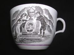 I believe this is a memorial cup commemorating the death of Princess Charlotte.  Her portrait is in the center medallion.  To the left is the figure of Britannia mourning, and to the right is Prince Leopold, Princess Charlotte's husband.