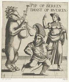Anonymous | Beer met doedelzak, Anonymous, 1540 - 1570 | Jonge vrouw met een aangelijnde beer die doedelzak speelt. Op de voorgrond een dansende dwerg met een hoge muts en zwaard.