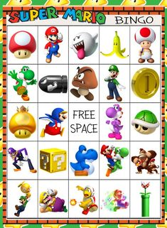 Super Mario Brothers Bingo 10 card