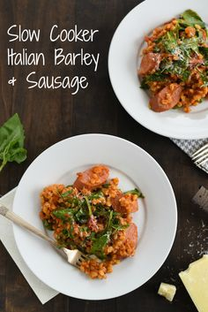 Slow Cooker Italian Barley & Sausage - A healthy, no-fuss meal made with whole grains, lean turkey sausage and spinach!   foxeslovelemons.com