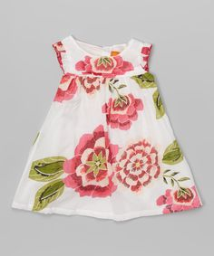 Red Floral Angel-Sleeve Dress - Infant, Toddler & Girls | zulily