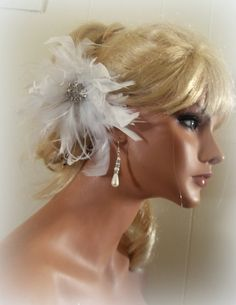 Wedding Fascinator Feather Hair Clip Bridal Comb by kathyjohnson3