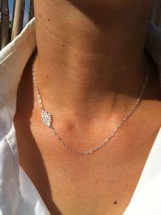 b80f6a56bd Silver hand necklace - Dainty silver hamsa necklace