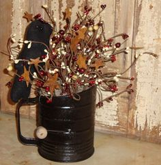 primitive kitchen decor - Google Search  fillers for between antique tins above cupboards