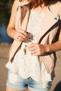 rose leather vest.