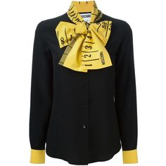 Moschino Ruler Pussybow Blouse ($416) ❤ liked on Polyvore featuring tops, blouses, shirts, moschino, black, moschino blouse, curved hem shirt, pussy bow blouses, extra long sleeve shirts and shirt blouse
