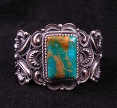 Kirk Smith Navajo Pilot Mountain Turquoise Sterling Silver Bracelet