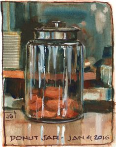 Donut Jar, gouache, 3x4 inches.