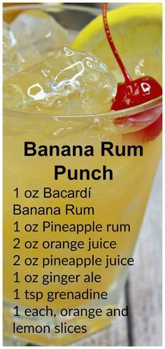 Banana Rum Punch Banana Rum Punch You can even make a slush version by adding all ingredients into a blender and adding some ice- its SO good! The post Banana Rum Punch appeared first on Getränk. Liquor Drinks, Cocktail Drinks, Beverages, Bourbon Drinks, Food & Drinks, Good Alcoholic Drinks, Rum Mixed Drinks, Craft Cocktails, Cocktail Recipes