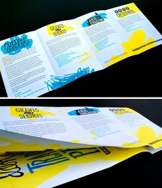 """Similar to the yellow pamphlet with the ribbon of poster poking through, this gives the viewer an extra """"side"""" of information. Would be great for a large infographic."""