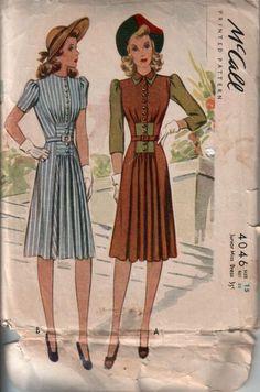 Vintage Dress Patterns, Clothing Patterns, Vintage Dresses, Vintage Outfits, 1940s Fashion, Vintage Fashion, Edwardian Fashion, Moda Vintage, Love Clothing