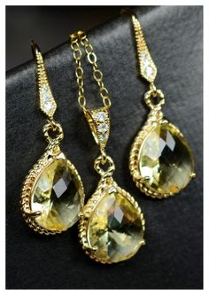 Bridesmaid jewelry Lemon yellow Earrings & by thefabjewelrywedding, $49.99