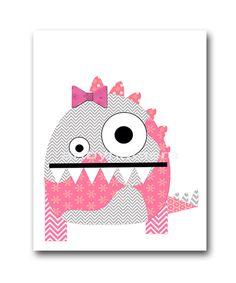 Monster Nursery Baby Girl Nursery Decor Baby nursery print children art print Nursery Print Girl Art 8x10 rose gray pink monster by artbynataera on Etsy https://www.etsy.com/listing/155431962/monster-nursery-baby-girl-nursery-decor