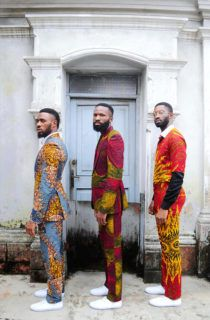 """Ankara takes a contemporary twist with Kamsi Tcharles' spring/ summer collection titled """"Czar and The Rabbi"""" . The Nigerian design label spotlights Actor Chris Okagbue and """"Gentleman"""" singer Ric H… African Men Fashion, Africa Fashion, African Wear, African Dress, Ankara Fashion, Ankara Styles For Men, Afro, Cool Outfits, Fashion Outfits"""