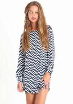 blue and white chevron printed dress