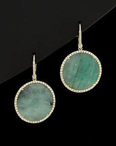Meira T 14K & Silver 34.50 ct. tw. Diamond & Emerald Drop Earrings
