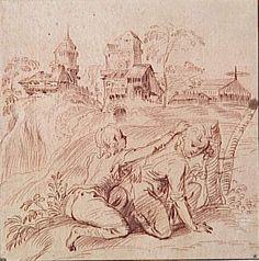 Antoine Watteau | Deux jeunes garçons agenouillés dans un paysage
