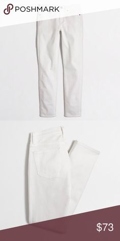 """Factory white cropped ankle jean jeans pants MORE PICTS TO COME SO PLEASE DON'T ASK :) REASONABLE OFFERS THROUGH OFFER FEATURE. NO TRADES. These J Crew Factory ankle pants feature a straight leg cut and a cropped fit to show off your platform sneakers! Pair with creepers and an embroidered bomber jacket for a super trendy ensemble. ocd Size: 25 (has some stretch). Inseam: 26"""" Material: 99% cotton, 1% elastane. Condition: new with tags J. Crew Jeans Ankle & Cropped"""