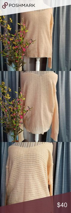 🌻🌺🌻FREE PEOPLE LIGHTWEIGHT KNIT SWEATER!! SIZE:large   BRAND:Free People   CONDITION:like new, no flaws    COLOR:white/cream and a peachy blush pink  Very beautiful sweater!!   🌟POSH AMBASSADOR, BUY WITH CONFIDENCE!   🌟CHECK OUT MY OTHER ITEMS TO BUNDLE AND SAVE ON SHIPPING!   🌟OFFERS WELCOME!   🌟FAST SHIPPING! Free People Sweaters
