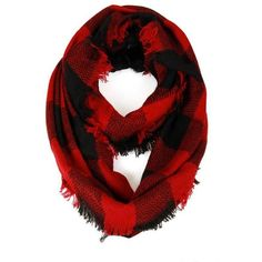 Red and black buffalo plaid infinity scarf ($13) ❤ liked on Polyvore featuring accessories, scarves, tartan infinity scarf, loop scarves, tube scarves, tartan scarves and fringe scarves