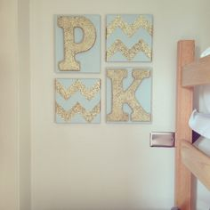 Glittery gold chevron and roommates' first initials make a cute personalized dorm decor option!