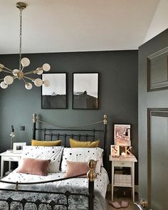 Jim's working away this weekend and I can't deny there's a small {huge} part of me that's looking forward to having the bed all to myself… Bedroom Wall Colors, Bedroom Green, Dream Bedroom, Home Decor Bedroom, Master Bedroom, Interior Exterior, Interior Design, Exterior Paint, Home Fashion
