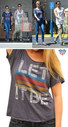 "EMILY VAN CAMP, star of Revenge, wears Junk Food Clothing ""Let it Be"" tee while out in L.A.  www.junkfoodclothing.com"