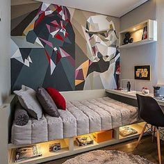 Star Wars Room Design Ideas - Check out the best Star Wars rooms for We collected the most inspiring and creative room decorations for Star Wars fans. Home Bedroom, Kids Bedroom, Bedroom Decor, Trendy Bedroom, Wall Decor, Bedroom Loft, Wall Art, Bedroom Wall, Bedroom Furniture