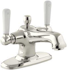 Kohler K-10579-4P Bancroft Single Hole Bathroom Faucet - Free Metal Pop-Up Drain Polished Nickel Faucet Lavatory Double Handle