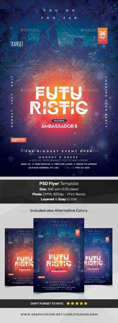 Futuristic Premium PSD Flyer Template — Photoshop PSD #psd flyer #club flyer • Download ➝ https://graphicriver.net/item/futuristic-premium-psd-flyer-template/20257943?ref=pxcr