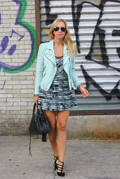 helena from brooklyn blonde in our mint green and black mesh dress