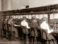 An old telephone exchange office from about 1915. The operators actually made the connections on the telephone by way of the pictured switchboards. It is amazing to consider that in the past every telephone call had to be routed manually by operators like the ones pictured above.