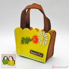 Κίτρινο διακοσμητικό τσαντάκι από τσόχα Lunch Box, Felt, Beautiful, Felting, Bento Box, Feltro
