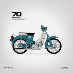 Creative Stuff, Gianmarco, Magnani, Bldgwlf, and Illustration image ideas & inspiration on Designspiration Honda Cub, Vintage Honda Motorcycles, Honda Bikes, Scooters, V Max, Motorcycle Art, Classic Motorcycle, Ex Machina, Mini Bike