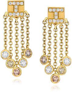 Ivanka Trump 18K Yellow Gold Tassel Moderne Short Fringe #Diamond Earrings