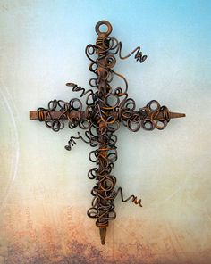 Rustic Wire Wrapped Nail Wall Cross