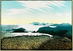 """""""Shining Sea from Trelerw"""" linocut by Ian Phillips. http://www.reliefprint.co.uk/ Tags: Linocut, Cut, Print, Linoleum, Lino, Carving, Block, Woodcut, Helen Elstone, Wales, Welsh, Landscape, Fields, Grass, Sky."""
