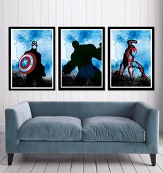 Captain America, Hulk and Iron Man Superheroes Poster Set